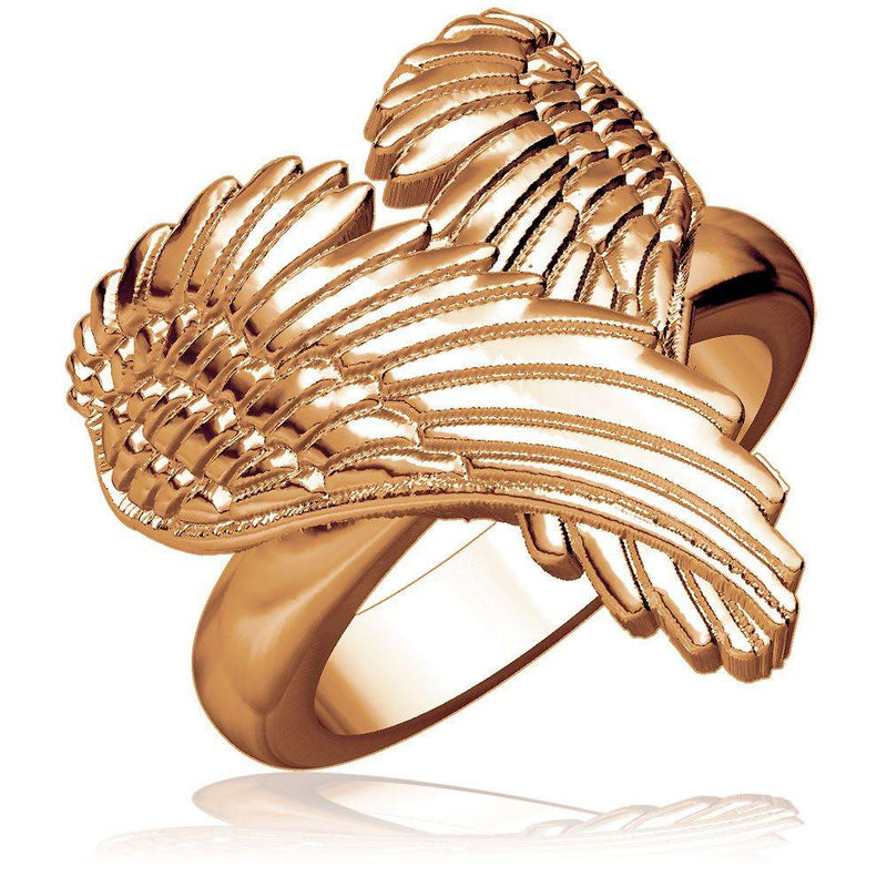 Large Angel Heart Wings Ring, Wings Of Love, 22mm in 14K Pink Gold