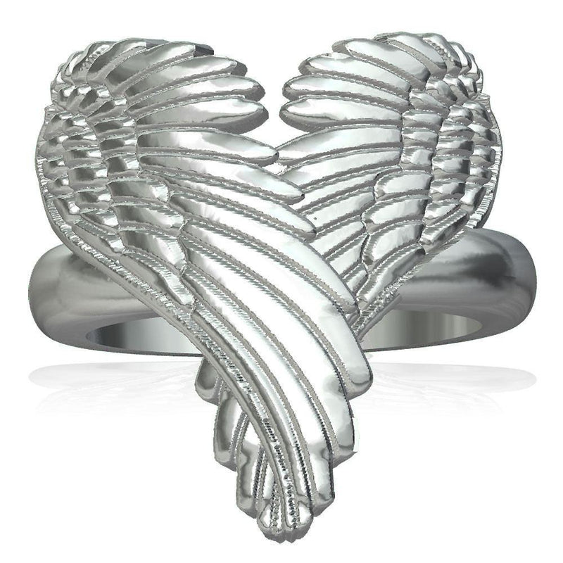 Large Angel Heart Wings Ring, Wings Of Love, 22mm in Sterling Silver