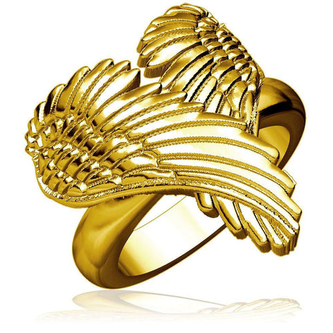 Large Angel Heart Wings Ring, Wings Of Love, 22mm in 14K Yellow Gold