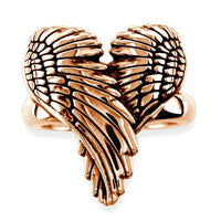 Large Angel Heart Wings Ring with Black, Wings Of Love, 22mm in 14K Pink Gold