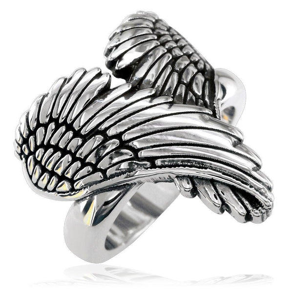 Large Angel Heart Wings Ring with Black, Wings Of Love, 22mm in Sterling Silver