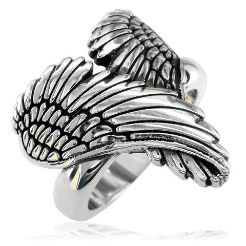 Large Angel Heart Wings Ring with Black, Wings Of Love, 22mm in 14K White Gold
