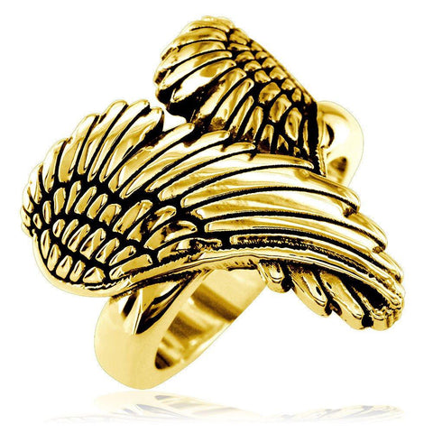 Large Angel Heart Wings Ring with Black, Wings Of Love, 22mm in 14K Yellow Gold