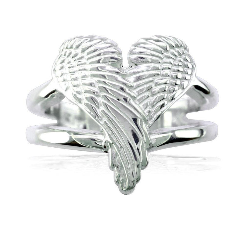 Medium Angel Heart Wings Ring, Wings Of Love, 17mm in 14K White Gold