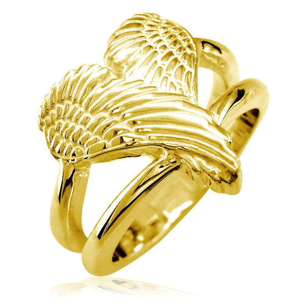 Medium Angel Heart Wings Ring, Wings Of Love, 17mm in 14K Yellow Gold