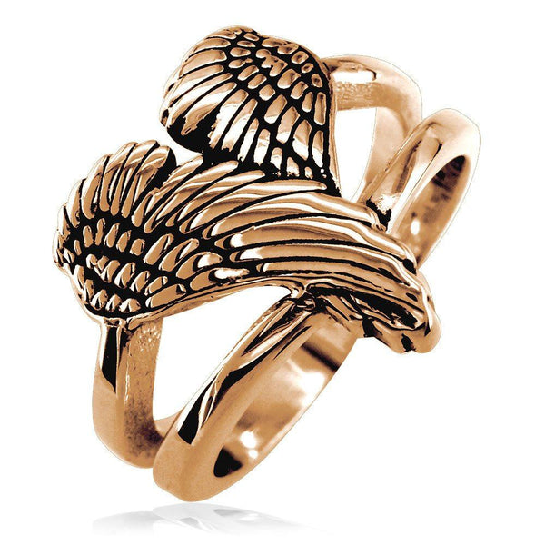 Medium Angel Heart Wings Ring with Black, Wings Of Love, 17mm in 14K Pink Gold