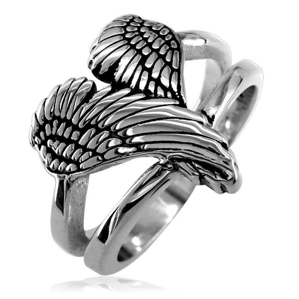 Medium Angel Heart Wings Ring with Black, Wings Of Love, 17mm in Sterling Silver
