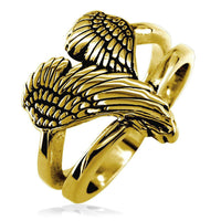 Medium Angel Heart Wings Ring with Black, Wings Of Love, 17mm in 14K Yellow Gold