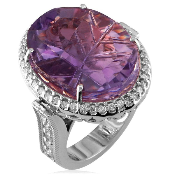 Large Laser Cut Oval Amethyst and Diamond Halo Right Hand Ring