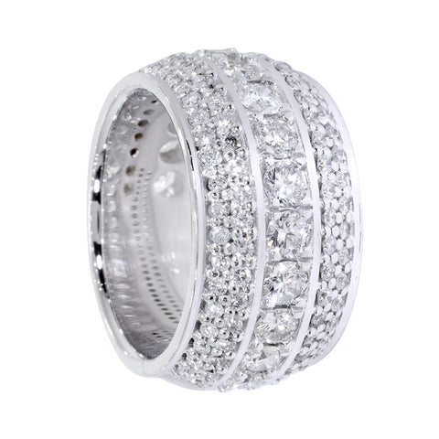Diamond Band, 5 Rows, 3.85CT in 14K White Gold
