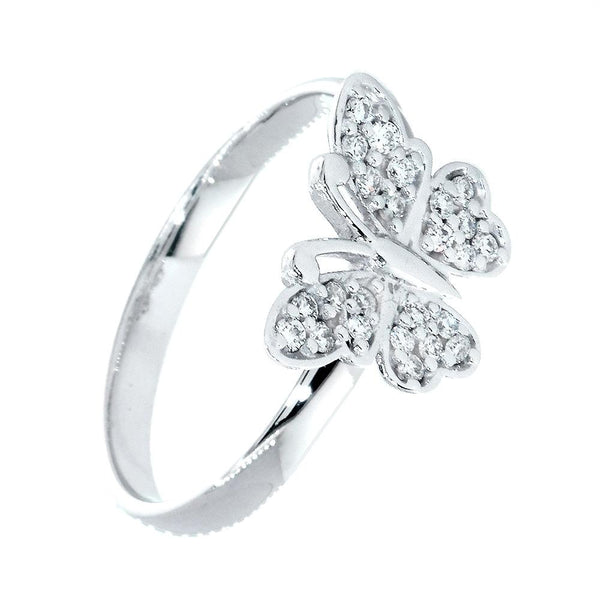 Small Diamond Butterfly Ring, 0.25CT in 14k White Gold