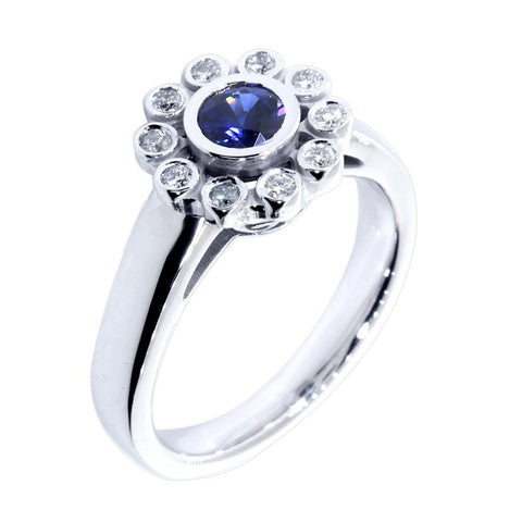 Round Sapphire and Diamond Halo Ring, 0.15CT Diamonds in 14k White Gold