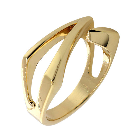 Open Contemporary Design Ring, 9mm Wide in 14K Yellow Gold