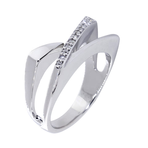 Open Contemporary Design Diamond Ring, 9mm Wide, 0.15CT in 14K White Gold