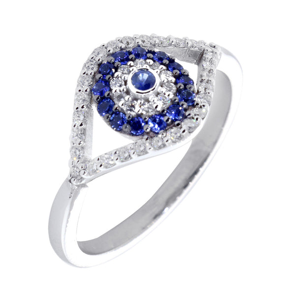 Diamond and Blue Sapphire Evil Eye Ring in 14k White Gold