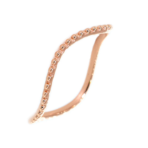 Stackable Curvy Beads Band, 1mm Wide in 14K Pink, Rose Gold