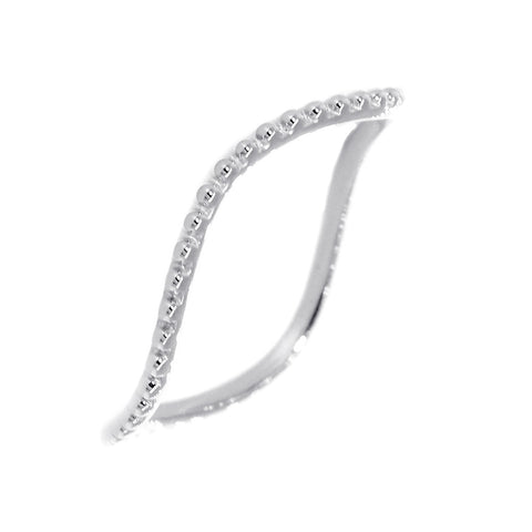 Stackable Curvy Beads Band, 1mm Wide in 14K White Gold