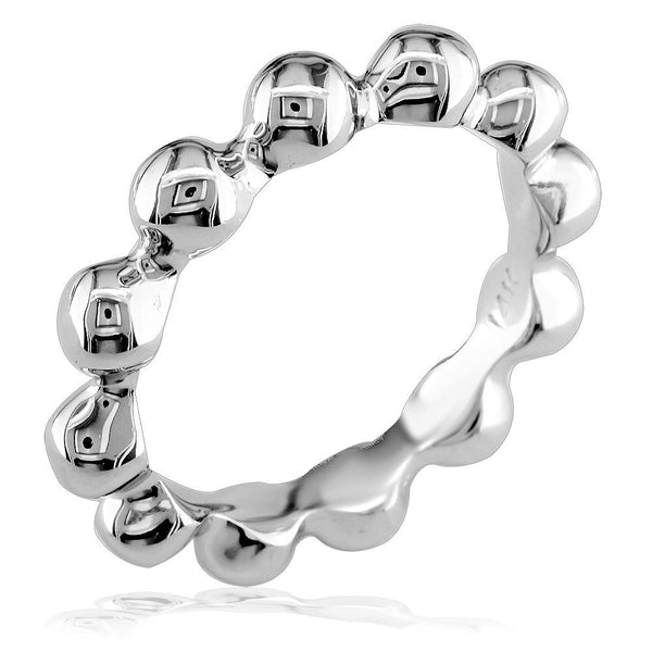Bead Stacker Ring, 3.6mm in 14k White Gold