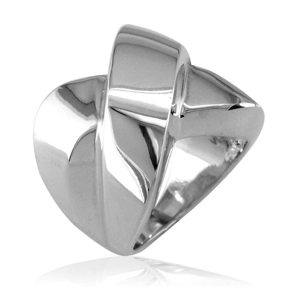 Large Cross Over Ring in 14k White Gold