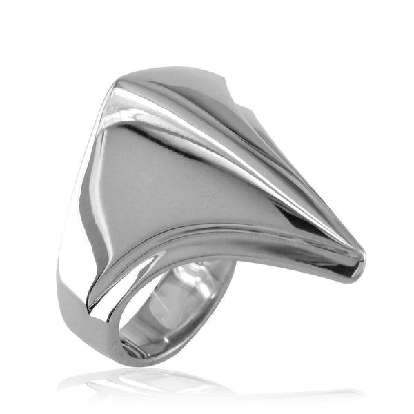 Large Contemporary Triangular Ring in 14k White Gold