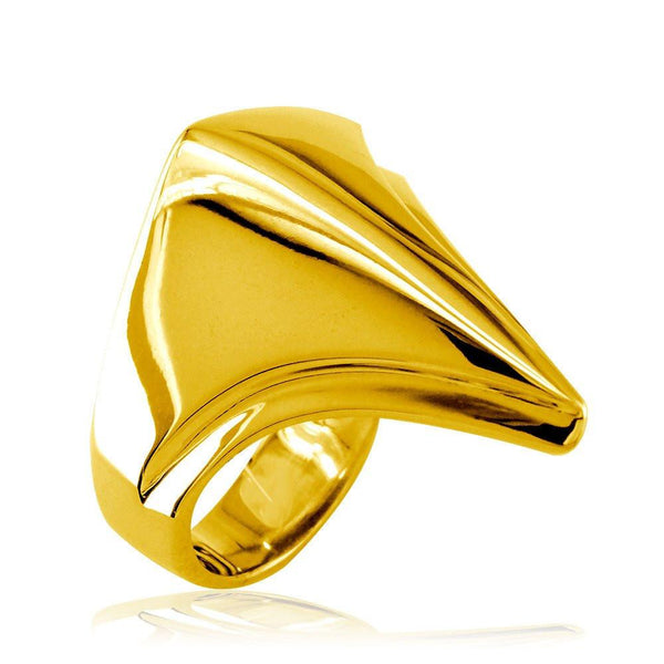 Large Contemporary Triangular Ring in 14k Yellow Gold