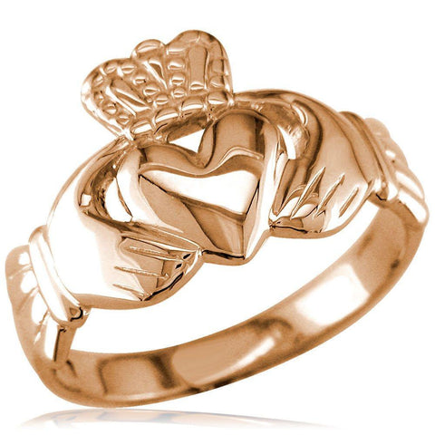 Claddagh Ring in 14k Pink, Rose Gold