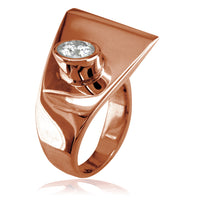 Modern Cubic Zirconia Ring in 14k Pink Gold, 18mm