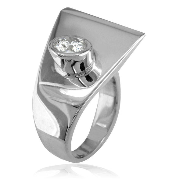 Modern Cubic Zirconia Ring in 14k White Gold, 18mm