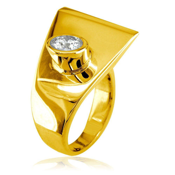 Modern Cubic Zirconia Ring in 14k Yellow Gold, 18mm
