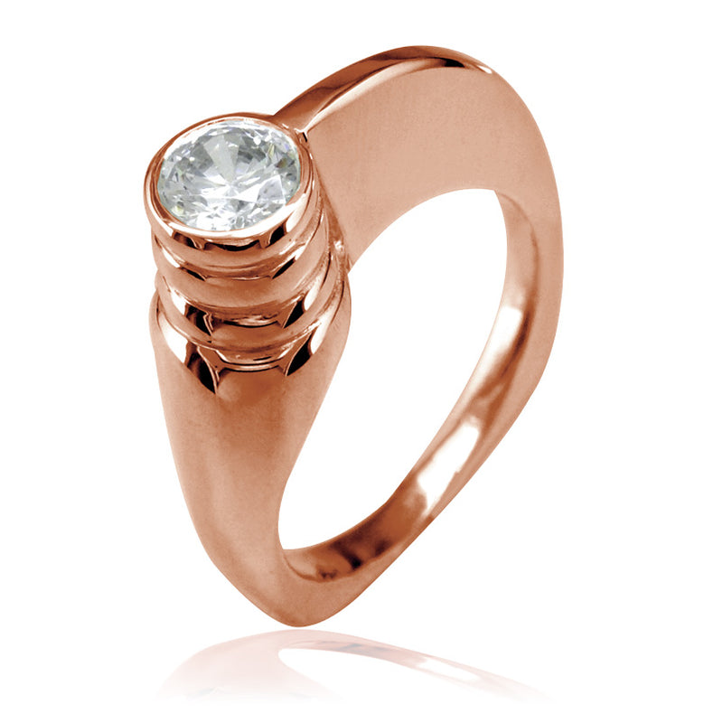 Modern Cubic Zirconia Ring in 14k Pink Gold, 6.5mm