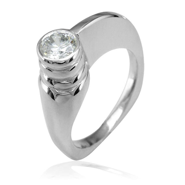 Modern Cubic Zirconia Ring in Sterling Silver, 6.5mm