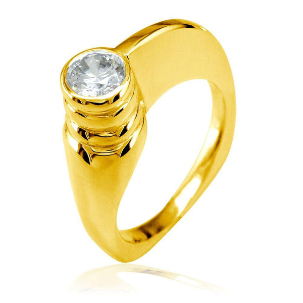 Modern Cubic Zirconia Ring in 18k Yellow Gold, 6.5mm