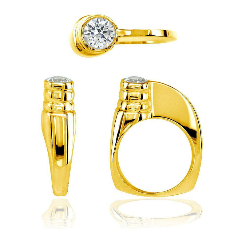 Modern Cubic Zirconia Ring in 14k Yellow Gold, 6.5mm