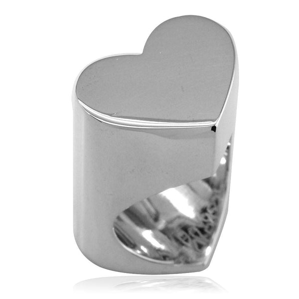 Large Flat Heart Ring in Sterling Silver