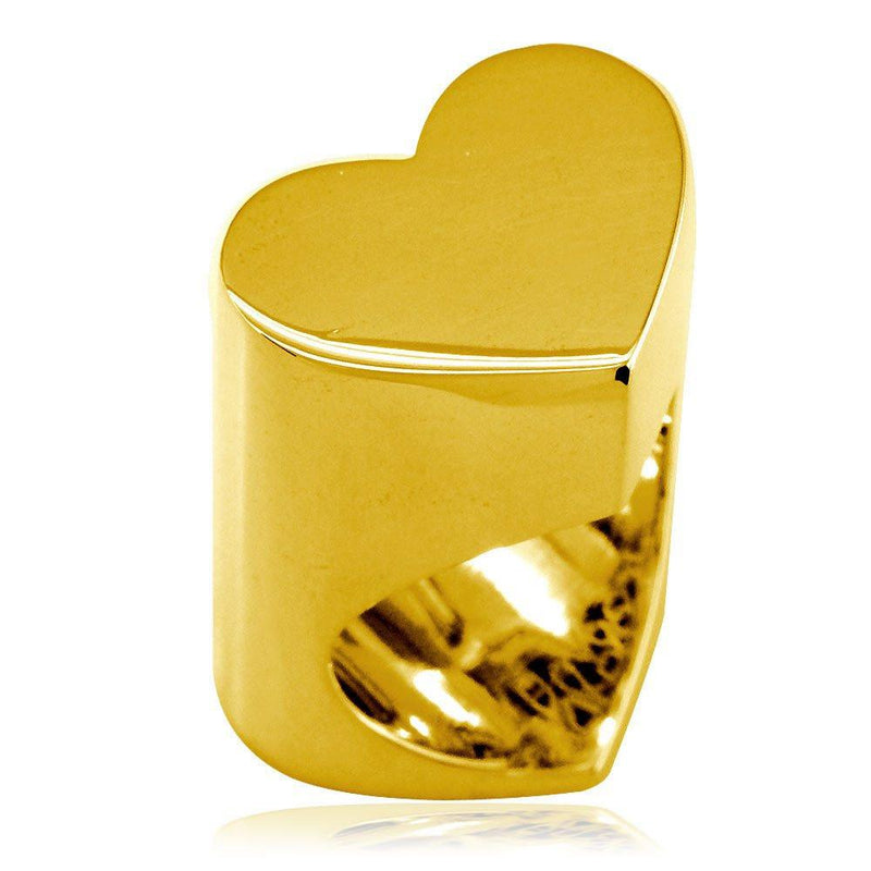 Large Flat Heart Ring in 14k Yellow Gold