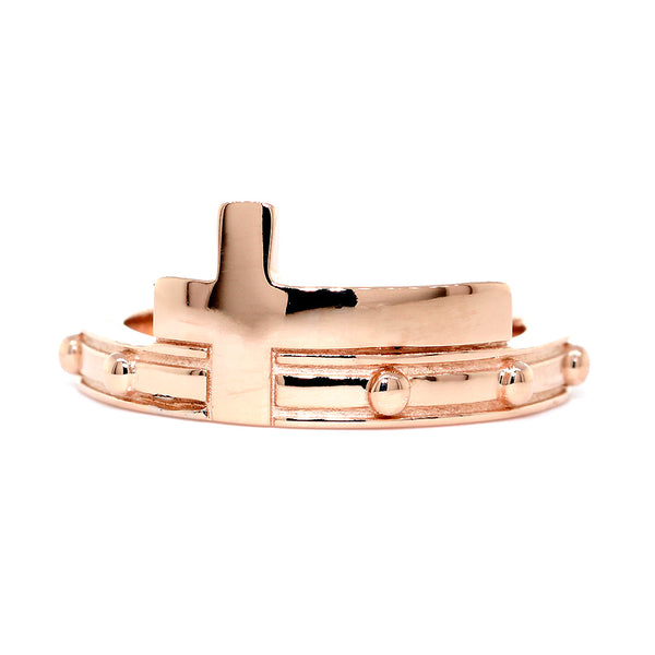 Rosary and Cross Ring, 10 Beads in 14k Pink, Rose Gold