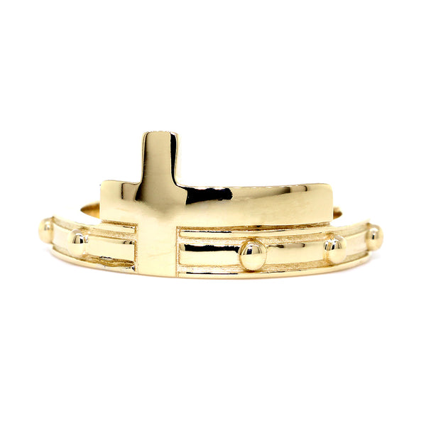 Rosary and Cross Ring, 10 Beads in 14k Yellow Gold