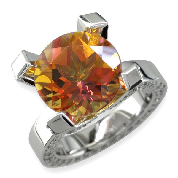 Large Round Autumn Topaz and Diamond Right Hand Ring, 1.75CT Diamonds in 18k White Gold