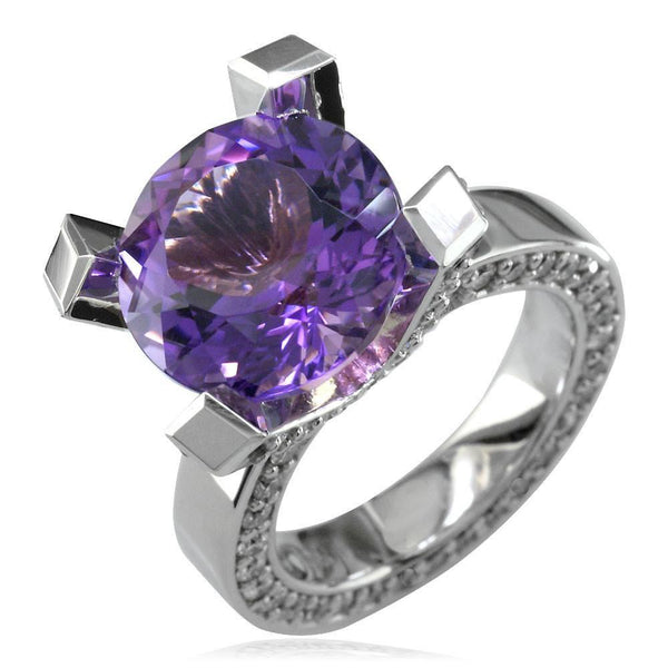 Large Round Amethyst and Diamond Right Hand Ring, 1.75CT Diamonds in 18k White Gold