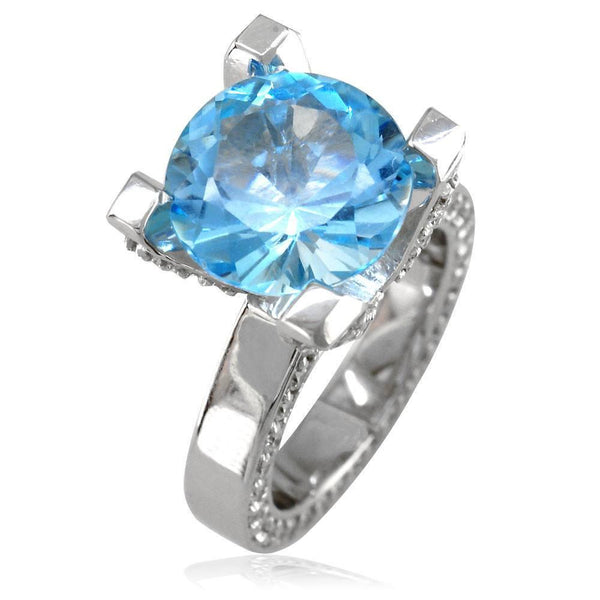 Large Round Blue Topaz and Diamond Right Hand Ring, 1.75CT Diamonds in 18k White Gold
