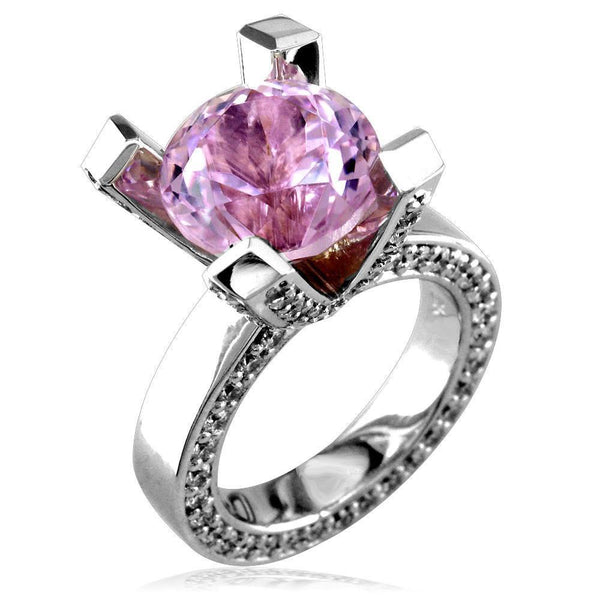 Large Round Kunzite and Diamond Right Hand Ring, 1.75CT Diamonds in 18k White Gold