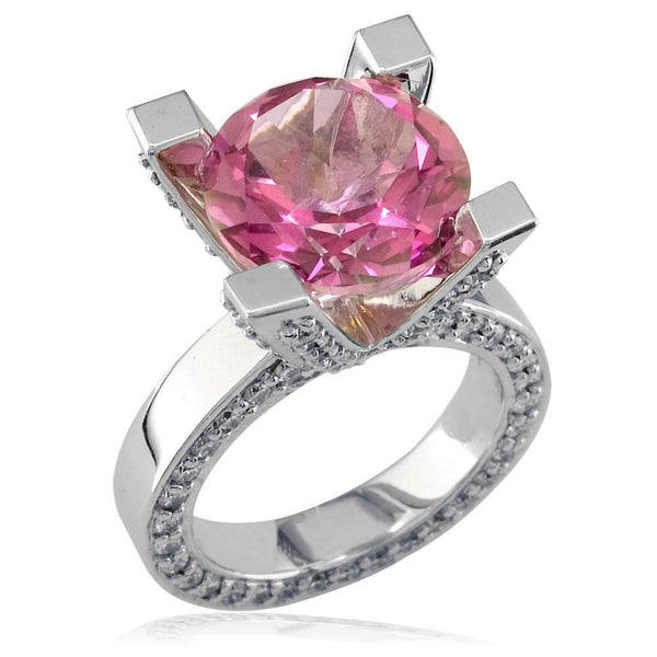 Large Round Blush Pink Topaz and Diamond Right Hand Ring, 1.75CT Diamonds in 18k White Gold
