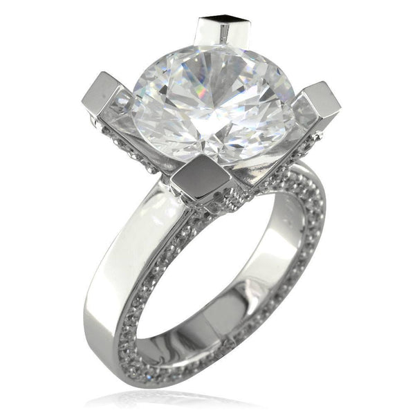 Large Round Cubic Zirconia and Diamond Right Hand Ring, 1.75CT Diamonds in 18k White Gold