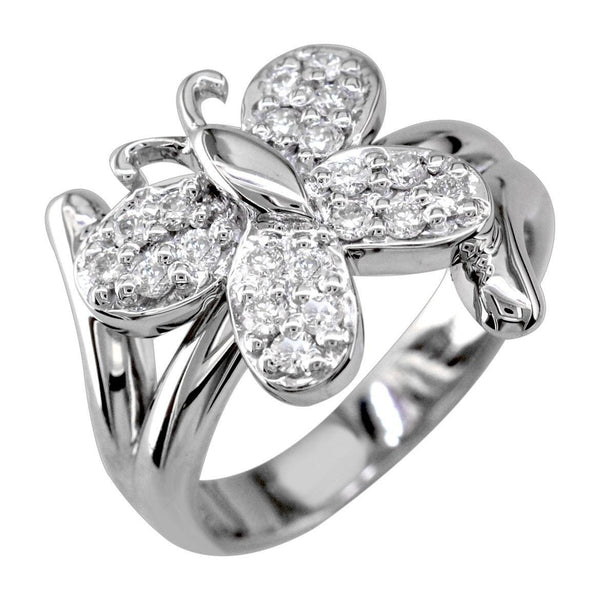 Butterfly Ring with Cubic Zirconias in Sterling Silver