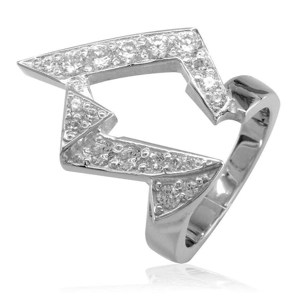 Large Designer Diamond Ring in 18K White Gold, 0.95CT