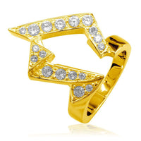 Large Designer Cubic Zirconia Ring in 18k Yellow Gold, 25mm Wide