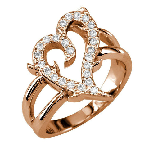 Diamond Guarded Love Heart Ring in 14K Pink, Rose Gold