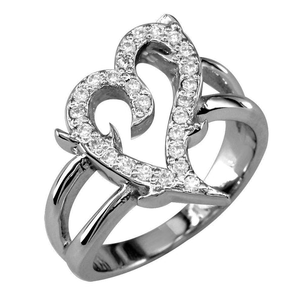 Diamond Guarded Love Heart Ring in 14K White Gold