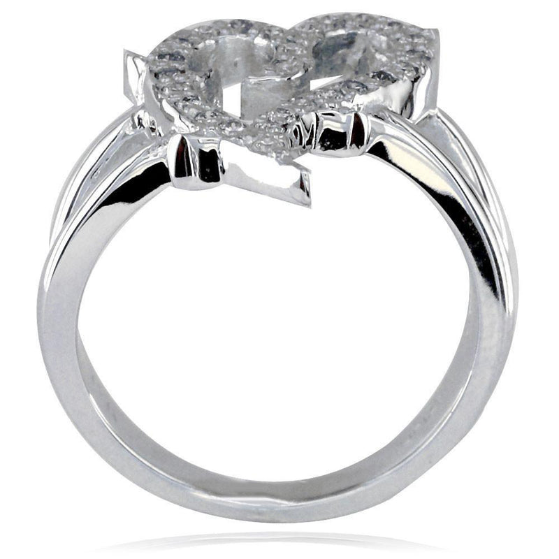 Guarded Love Heart Ring with Cubic Zirconias in Sterling Silver