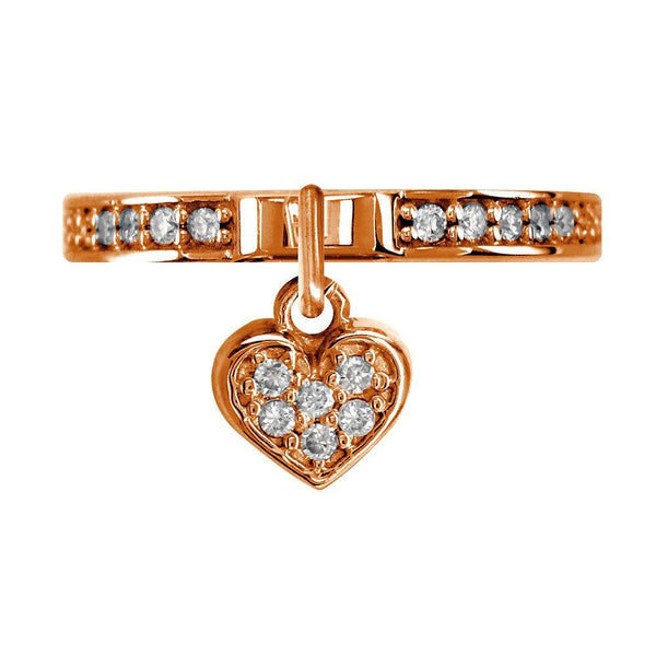 Diamond Heart Charm Ring in 14k Pink Gold, 0.20CT
